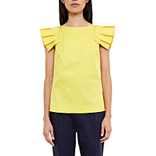 Buy Ted Baker Analia Frill Detail Drop Shoulder Top, Yellow Online at johnlewis.com