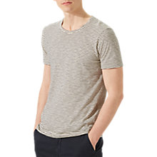 Buy Jigsaw Fine Stripe Short Sleeve Slub T-Shirt, Ecru Online at johnlewis.com