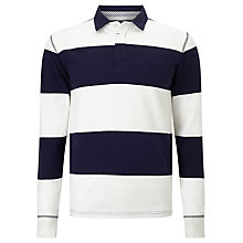 Buy Gant Block Stripe Heavy Rugger Rugby Top, Evening Blue Online at johnlewis.com