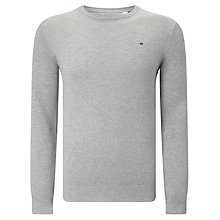 Buy Gant Cotton Pique Crew Jumper, Light Grey Melange Online at johnlewis.com