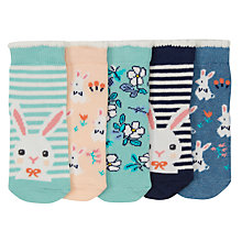 Buy John Lewis Baby Bunny Print Socks, Pack of 5, Multi Online at johnlewis.com