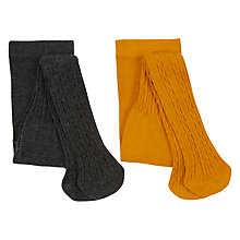 Buy John Lewis Baby Cable Knit Tights, Pack of 2, Multi Online at johnlewis.com