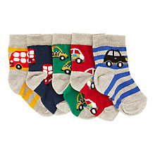 Buy John Lewis Baby Bus & Car Socks, Pack of 5, Multi Online at johnlewis.com