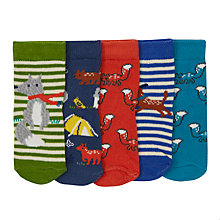 Buy John Lewis Baby Squirrel Print Socks, Pack of 5, Multi Online at johnlewis.com