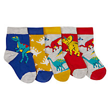 Buy John Lewis Baby Dinosaur Character Socks, Pack of 5, Yellow Online at johnlewis.com