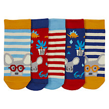 Buy John Lewis Baby Mouse Print Socks, Pack of 5, Multi Online at johnlewis.com