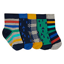 Buy John Lewis Baby Stripes & Shapes Socks, Pack of 5 Online at johnlewis.com