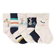 Buy John Lewis Baby Woodland Socks, Pack of 5, Multi Online at johnlewis.com