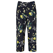 Buy Weekend MaxMara Zulma Floral Print Silk Trousers, Ultramarine Online at johnlewis.com