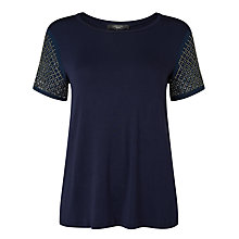 Buy Weekend MaxMara Teti Crepe De Chine Jersey T-Shirt, Ultramarine Online at johnlewis.com