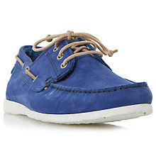 Buy Dune Belize Nubuck Lace-Up Boat Shoes, Blue Online at johnlewis.com