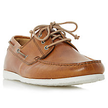 Buy Dune Belize Leather Lace-Up Boat Shoes, Tan Online at johnlewis.com