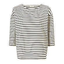 Buy Minimum Elenna Stripe Jersey Top, White Online at johnlewis.com