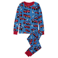 Buy Hatley Children's Fire Trucks Pyjamas, Blue/Red Online at johnlewis.com