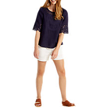Buy White Stuff Cutwork Karala Top, Blue Online at johnlewis.com