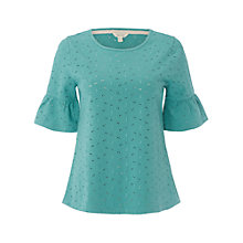 Buy White Stuff Emily Broderie Jersey T-Shirt, Green Online at johnlewis.com