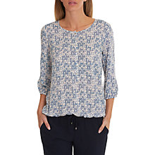 Buy Betty & Co. Printed Three-Quarter Sleeve Blouse, White/Classic Blue Online at johnlewis.com