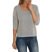 Buy Betty & Co. Chevron Stripe Textured Top, Cream/Dark Blue Online at johnlewis.com