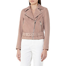 Buy Reiss Cory Suede Biker Jacket, Dusty Pink Online at johnlewis.com