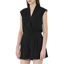 Buy Reiss Louise Wrap Playsuit, Black Online at johnlewis.com