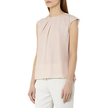 Buy Reiss Sylvia Silk Button Back Tank Top, Eggshell Online at johnlewis.com