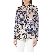 Buy Reiss Hallis Print Silk Blouse, Pink/Multi Online at johnlewis.com