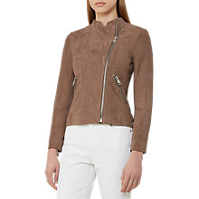 Buy Reiss Sophie Suede Biker Jacket, Neutral Online at johnlewis.com