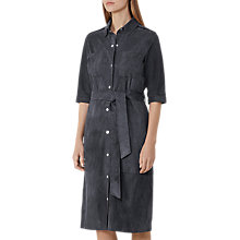 Buy Reiss Chloe Suede Shirt Dress, Slate Blue Online at johnlewis.com