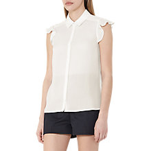 Buy Reiss Tobine Frill Sleeve Silk Blouse, Off White Online at johnlewis.com