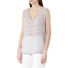 Buy Reiss Carlie Stripe Tank Top, Silver Online at johnlewis.com