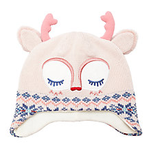 Buy John Lewis Children's Novelty Fawn Christmas Hat, Cream/Pink Online at johnlewis.com