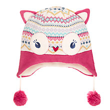 Buy John Lewis Children's Novelty Owl Trapper Hat, Cream Online at johnlewis.com