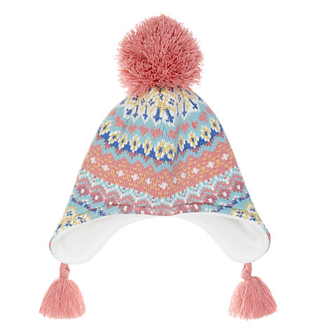 Buy John Lewis Children's Pretty Fair Isle Trapper Hat, Multi ...