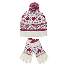 Buy John Lewis Children's Christmas Fair Isle Hat & Glove Set, Red/White Online at johnlewis.com
