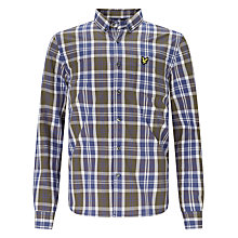 Buy Lyle & Scott Boys' Poplin Checked Long Sleeved Shirt, Olive Green Online at johnlewis.com