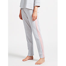 Buy John Lewis Contrast Side Textured Jogger Bottoms, Grey/Pink Online at johnlewis.com
