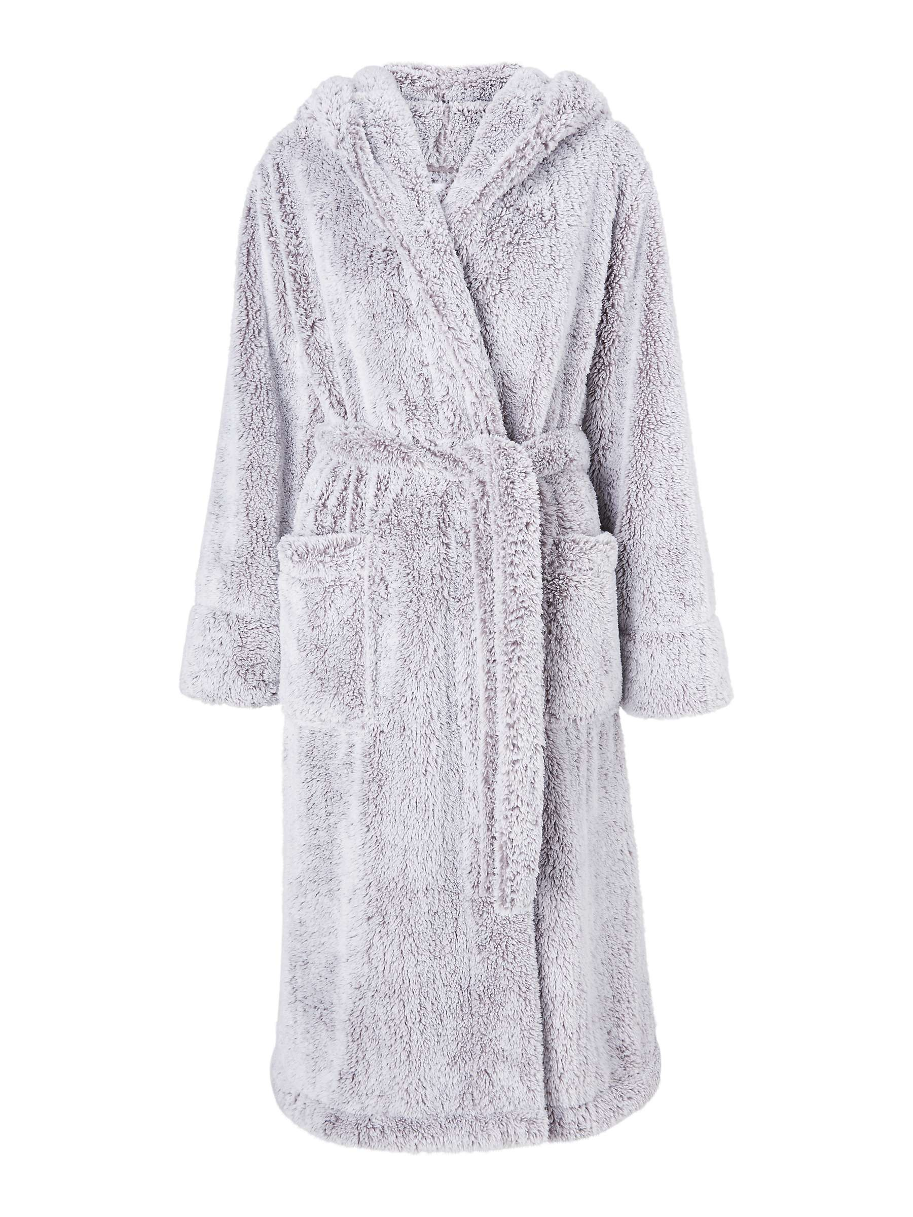 John Lewis & Partners Hi Pile Fleece Robe, Grey