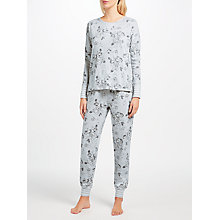 Buy John Lewis Vanessa Floral Print Jersey Pyjama Set, Grey Online at johnlewis.com