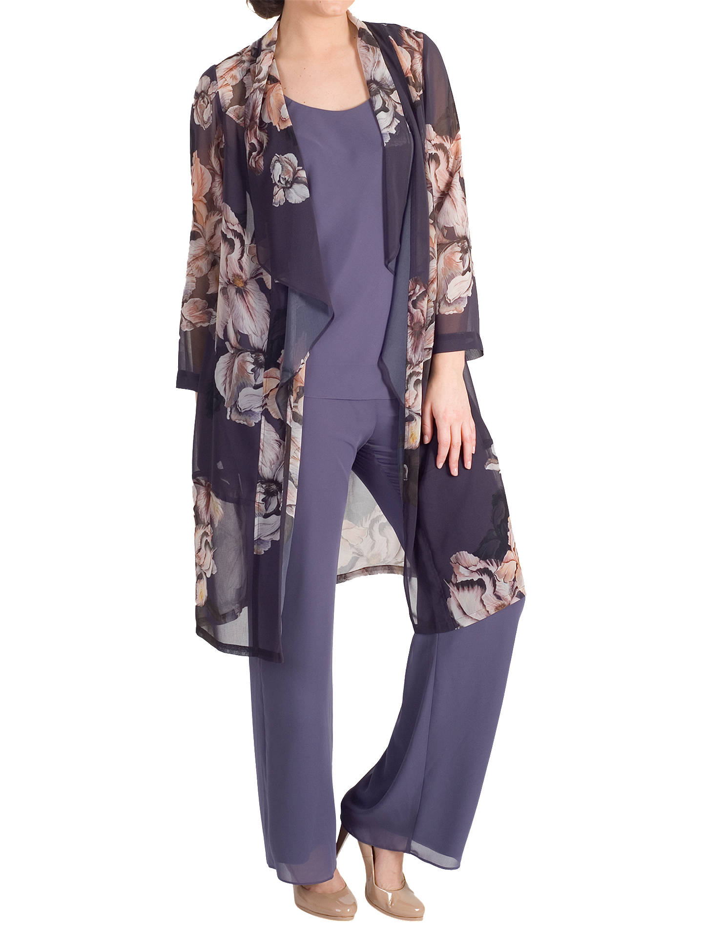 BuyChesca Satin Trim Chiffon Trousers, Hyacinth, 14 Online at johnlewis.com