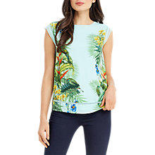 Buy Oasis Tropical Floral Placement T-Shirt, Multi Blue Online at johnlewis.com