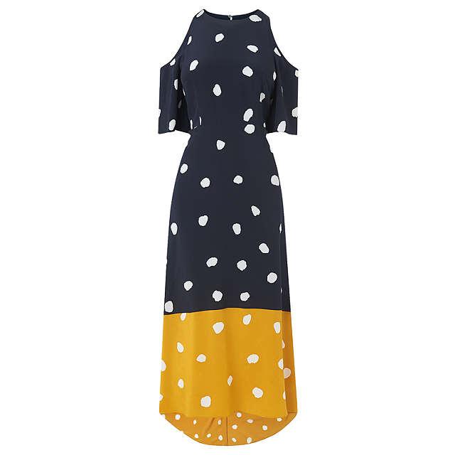 L.K. Bennett Leia Spot Print Silk Dress, Navy/Multi at John Lewis