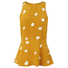 Buy L.K. Bennett Ella Painterly Spot Print Silk Peplum Top, Ochre/White Online at johnlewis.com