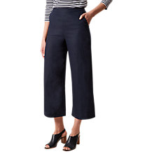 Buy Hobbs Anise Cropped Linen Trousers, Navy Online at johnlewis.com