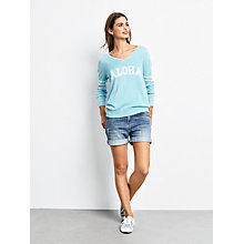 Buy hush Aloha Slogan V-Neck Jumper, Radiance/Ecru Online at johnlewis.com
