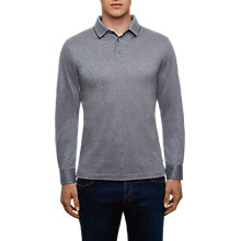Buy Hackett London Long Sleeve Marl Polo Shirt, Grey Online at johnlewis.com