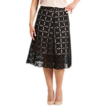 Buy Celuu Alison Geo Lace A-Line Skirt, Black Online at johnlewis.com
