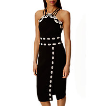 Buy Karen Millen Lace Trim Pencil Dress, Black/White Online at johnlewis.com