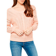 Buy Miss Selfridge Lattice Back Crochet Jumper, Peach Online at johnlewis.com