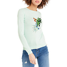 Buy Oasis Parakeet Embroidered Knit Jumper, Light Blue Online at johnlewis.com