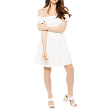 Buy Miss Selfridge Bow Bardot Skater Dress, Ivory Online at johnlewis.com